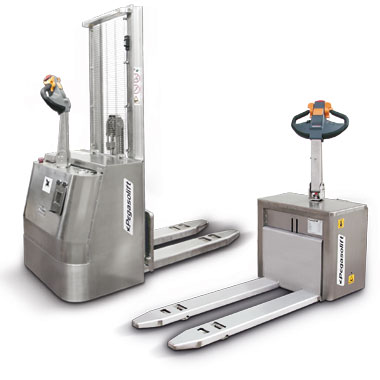 Electric pallet truck and pallet stackers in stainless steel